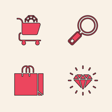 Set Diamond, Jewelry online shopping, Magnifying glass and Shopping bag jewelry icon. Vector