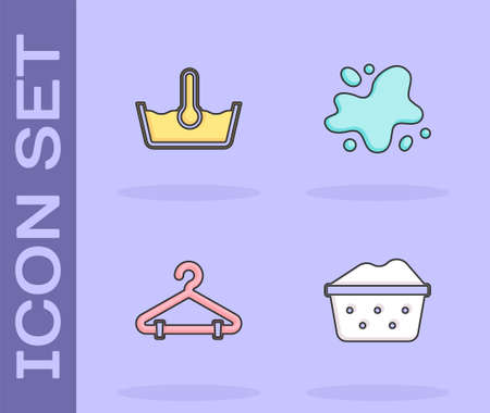 Set Basin with soap suds, Temperature wash, Hanger wardrobe and Water spill icon. Vector