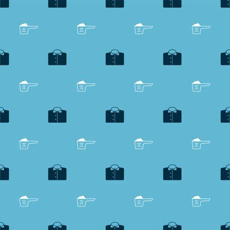 Set T-shirt and Washing powder on seamless pattern. Vector