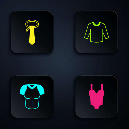 Set Swimsuit, Tie, T-shirt and Sweater. Black square button. Vector Ilustracja