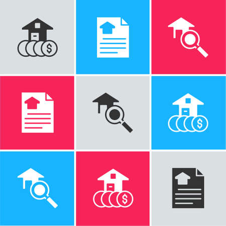 Set House with dollar, contract and Search house icon. Vector