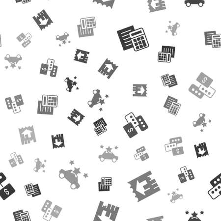 Set Calculator, House, Price negotiation and Car sharing on seamless pattern. Vector