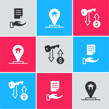 Set House contract, Location house and Rent key icon. Vector