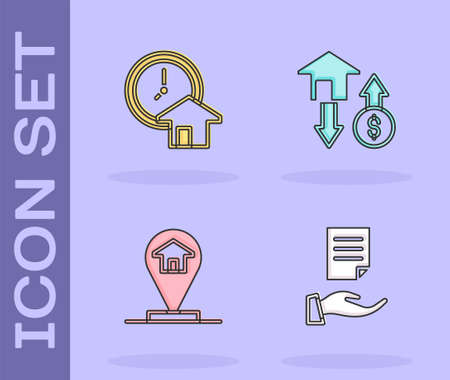 Set House contract, Time is money, Location house and with dollar icon. Vector