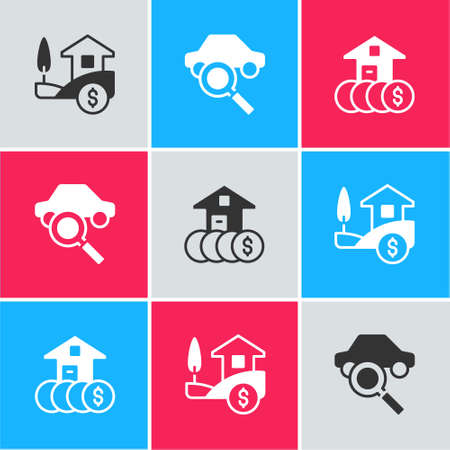 Set House with dollar, Car sharing and icon. Vector Ilustracja