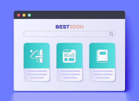 Set News, Radar and Notebook icon. Vector