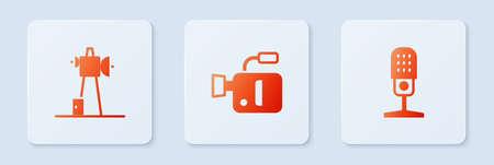Set Cinema camera Antenna and Microphone. White square button. Vector. Ilustracja