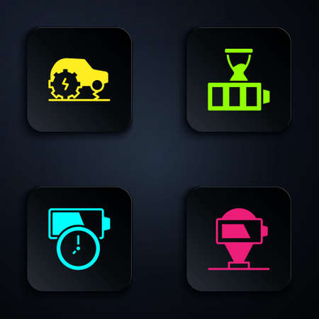 Set Battery charge, Electric car service, and . Black square button. Vector Ilustracja