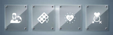 Set Gender, Feminism, Packaging of birth control pills and Women from different countries. Square glass panels. Vector
