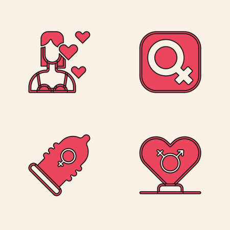 Set Gender, Love yourself, Female gender and Condom icon. Vector