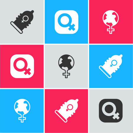Set Condom, Female gender and Feminism in the world icon. Vector