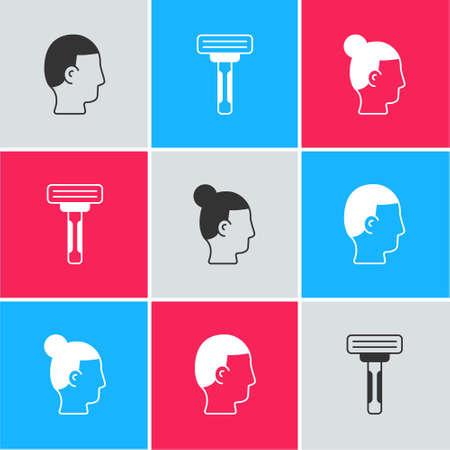 Set Hairstyle for men, Shaving razor and icon. Vector Ilustracja
