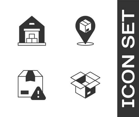 Set Unboxing, Warehouse, Delivery security with shield and Location cardboard icon. Vector Ilustracja