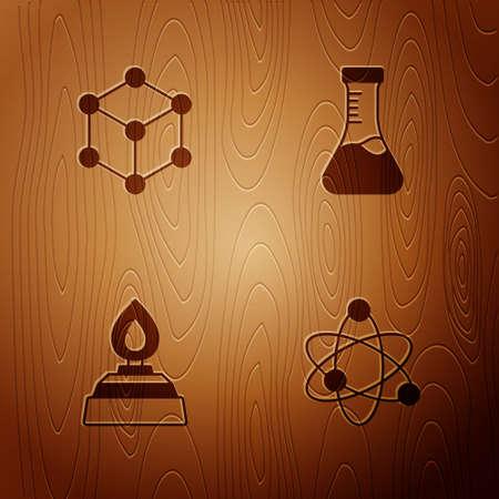 Set Atom, Molecule, Alcohol or spirit burner and Test tube on wooden background. Vector Ilustracja