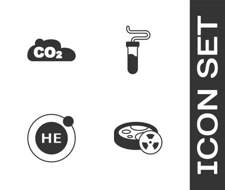 Set Test tube with toxic liquid, CO2 emissions in cloud, Helium and icon. Vector Ilustracja
