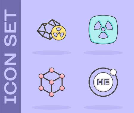 Set Helium, Radioactive, Molecule and icon. Vector