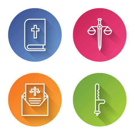 Set line Holy bible book, Scales of justice, Subpoena and Police rubber baton. Color circle button. Vector