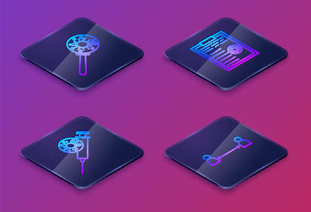 Set Isometric line Virus under magnifying glass, Syringe and virus, Clipboard with blood test results and Safe distance. Blue square button. Vector Ilustracja