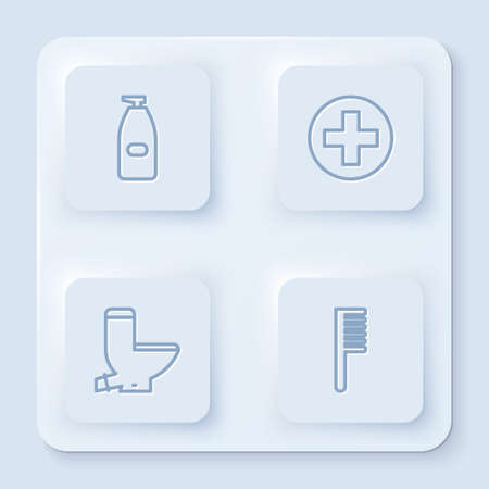 Set line Bottle of liquid antibacterial soap, Cross hospital medical, Toilet bowl and Hairbrush. White square button. Vector