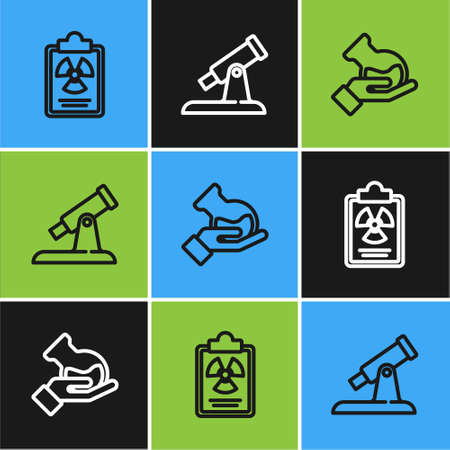 Set line Radiation warning document, Test tube and flask and Telescope icon. Vector