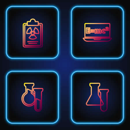 Set line Test tube and flask, , Radiation warning document and Equation solution. Gradient color icons. Vector