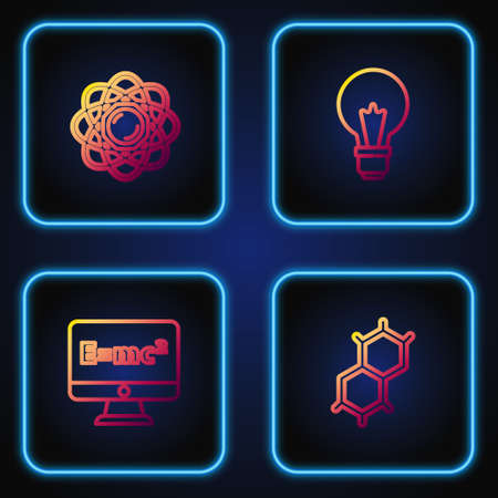 Set line Chemical formula, Equation solution, Atom and Light bulb with concept of idea. Gradient color icons. Vector
