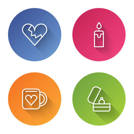 Set line Broken heart or divorce, Burning candle, Coffee cup and Wedding rings. Color circle button. Vector