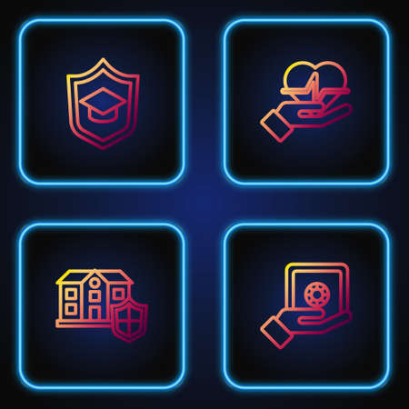 Set line Safe in hand, House with shield, Graduation cap and Life insurance. Gradient color icons. Vector Ilustracja