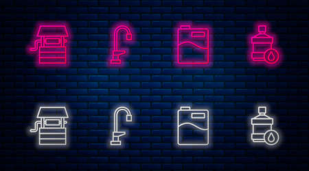 Set line Water tap, Big bottle with clean water, Well bucket and . Glowing neon icon on brick wall. Vector