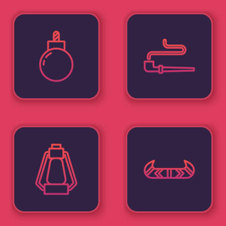 Set line Bomb ready to explode, Camping lantern, Smoking pipe and Kayak or canoe and paddle. Blue square button. Vector Ilustracja