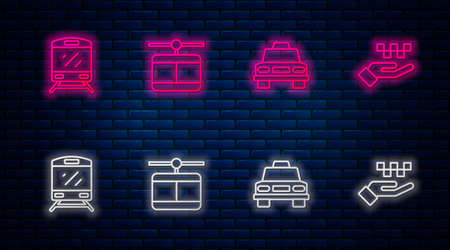 Set line Cable car, Taxi, Train and Hand with taxi. Glowing neon icon on brick wall. Vector