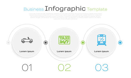 Set line Car, Location with taxi and Train. Business infographic template. Vector