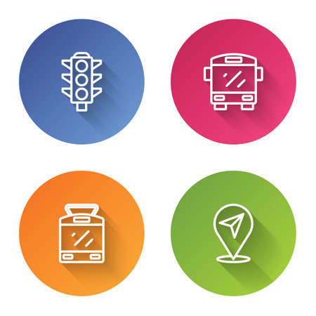 Set line Traffic light, Bus, Tram and railway and Location. Color circle button. Vector