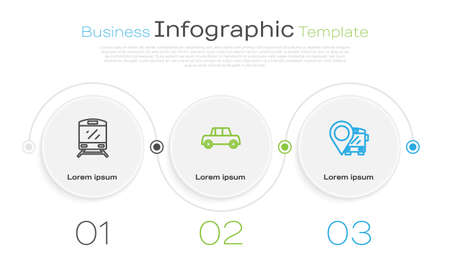 Set line Train, Car and Location with bus. Business infographic template. Vector