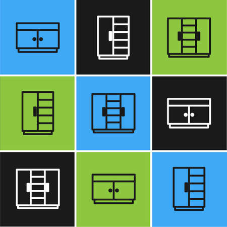 Set line Chest of drawers, Wardrobe and icon. Vector Ilustracja