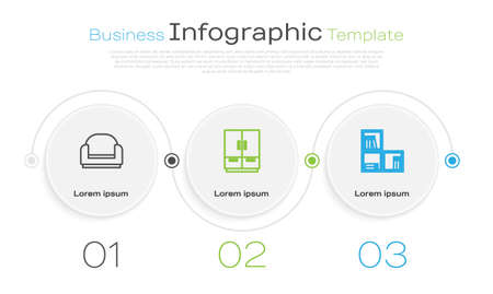 Set line Armchair, Wardrobe and Shelf with books. Business infographic template. Vector