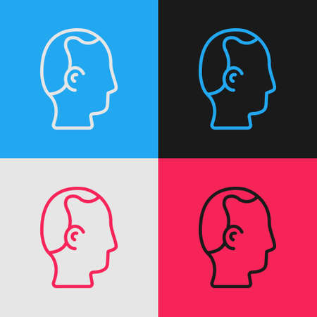 Pop art line Baldness icon isolated on color background. Alopecia. Vector