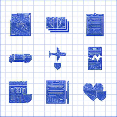 Set Plane with shield, Contract pen, Heart, Torn contract, Medical hospital building, Delivery cargo truck, Clipboard checklist and Ordered envelope icon. Vector