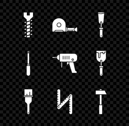 Set Metallic screw, Roulette construction, Putty knife, Paint brush, Folding ruler, Hammer, Screwdriver and Electric drill machine icon. Vector Vektorgrafik