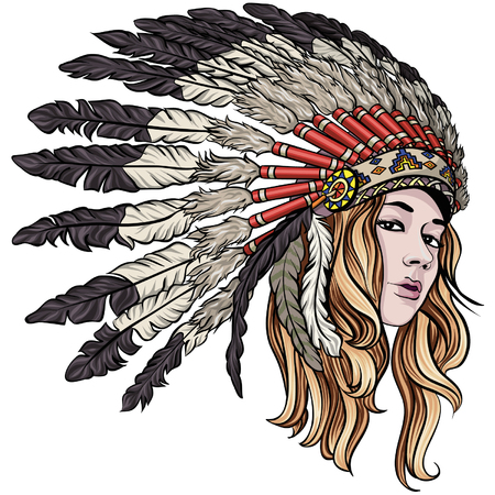 Beautiful native american girl with chief headdress vector illustration.