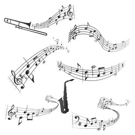 Curly musical scores  イラスト・ベクター素材