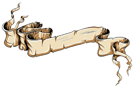 Ancient damaged scroll vector document folded. Retro ribbon with empty text space.