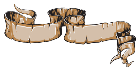 Aged engraved woodcut scroll vector illustration.