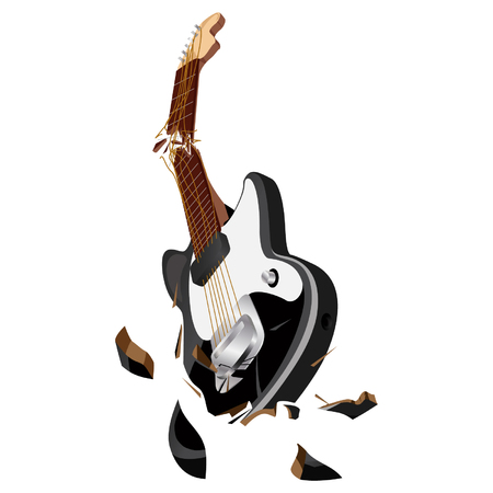 Smashing guitar.Broken guitar griff and strings.Broken electric guitar vector.