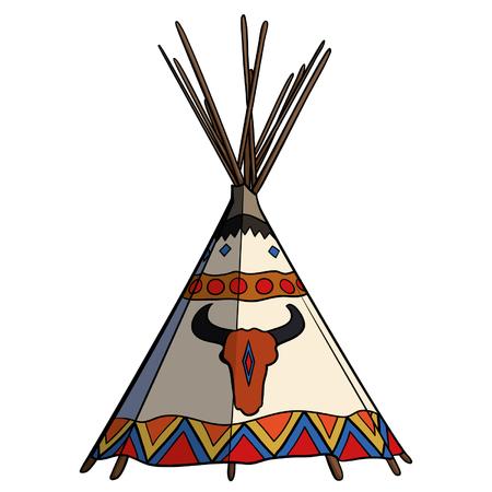 Illustrazione tradizionale di vettore della tenda di tipi del nativo americano. Wigwam Apache con teschio di bufalo.