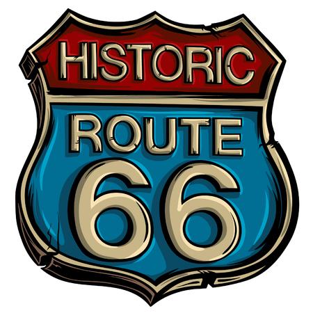 Vettore d'annata dell'itinerario 66 del segnale stradale. Simbolo pubblicitario americano.