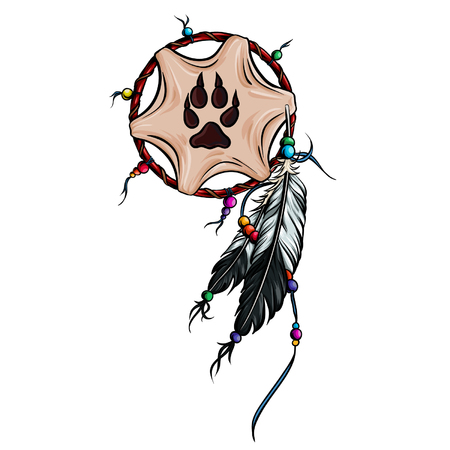 Native american dreamcatcher with leather lamina with wolf paw and feathers vector illustration. Illustration
