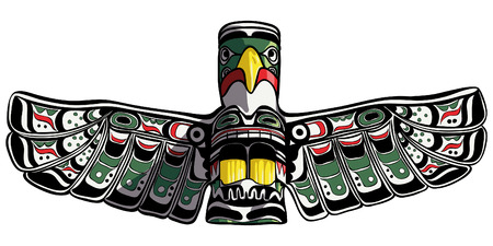 Hand drawn eagle totem in Duncan vector illustration.