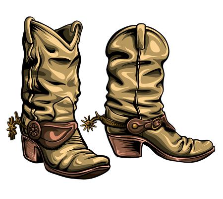 Viejo formato de vector de botas de vaquero Gringo. Zapatos tradicionales texanos dibujados a mano.