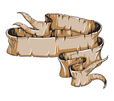 Medieval aged scroll paper with broken portions. Hand drawn ribbon vector illustration. Illustration